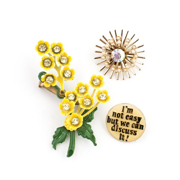Growing Pains Vintage Brooch Collection, $75 - This quirky collection of brooches is perfectly suited to your most