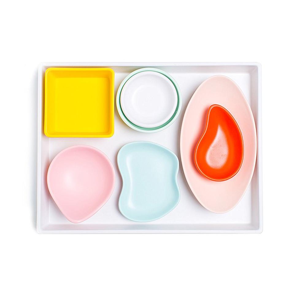 Sugar & Cloth White Melamine Tray and Multicolor Condiment Cups, $24.99 -