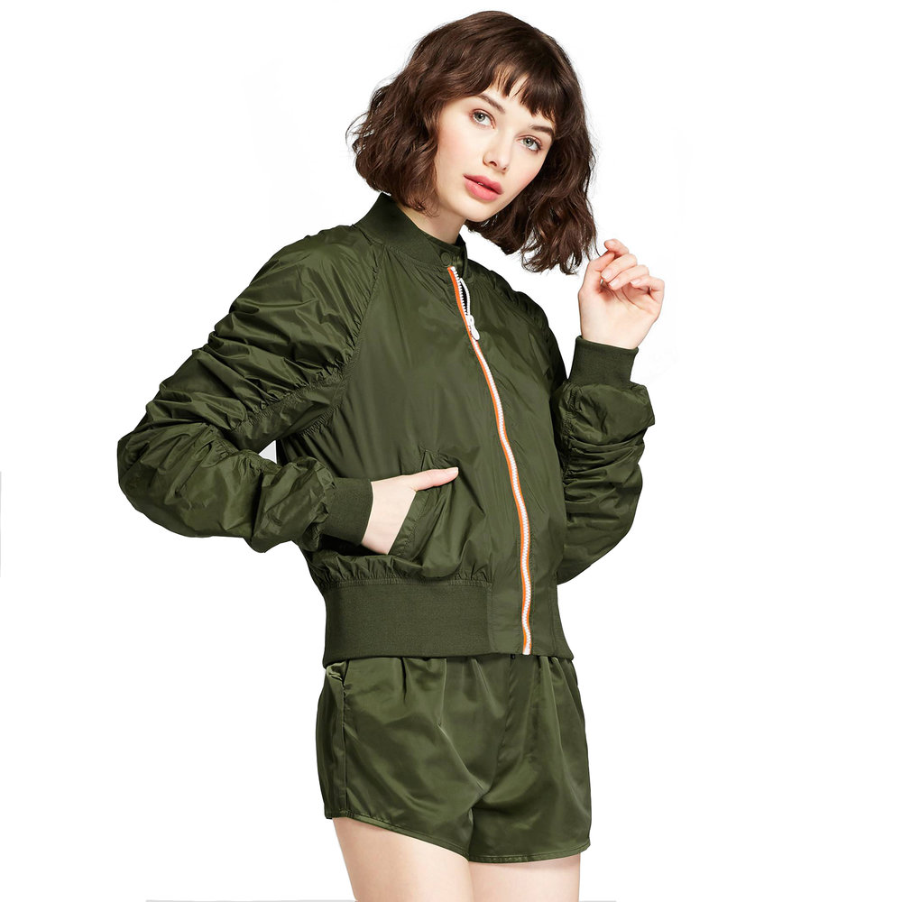 Ruched Sleeve Bomber Olive, $35