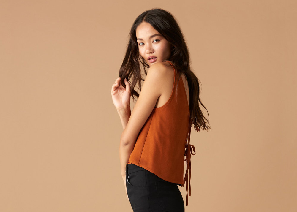 Whimsy and Row  Louisa Tank  in Rust $48