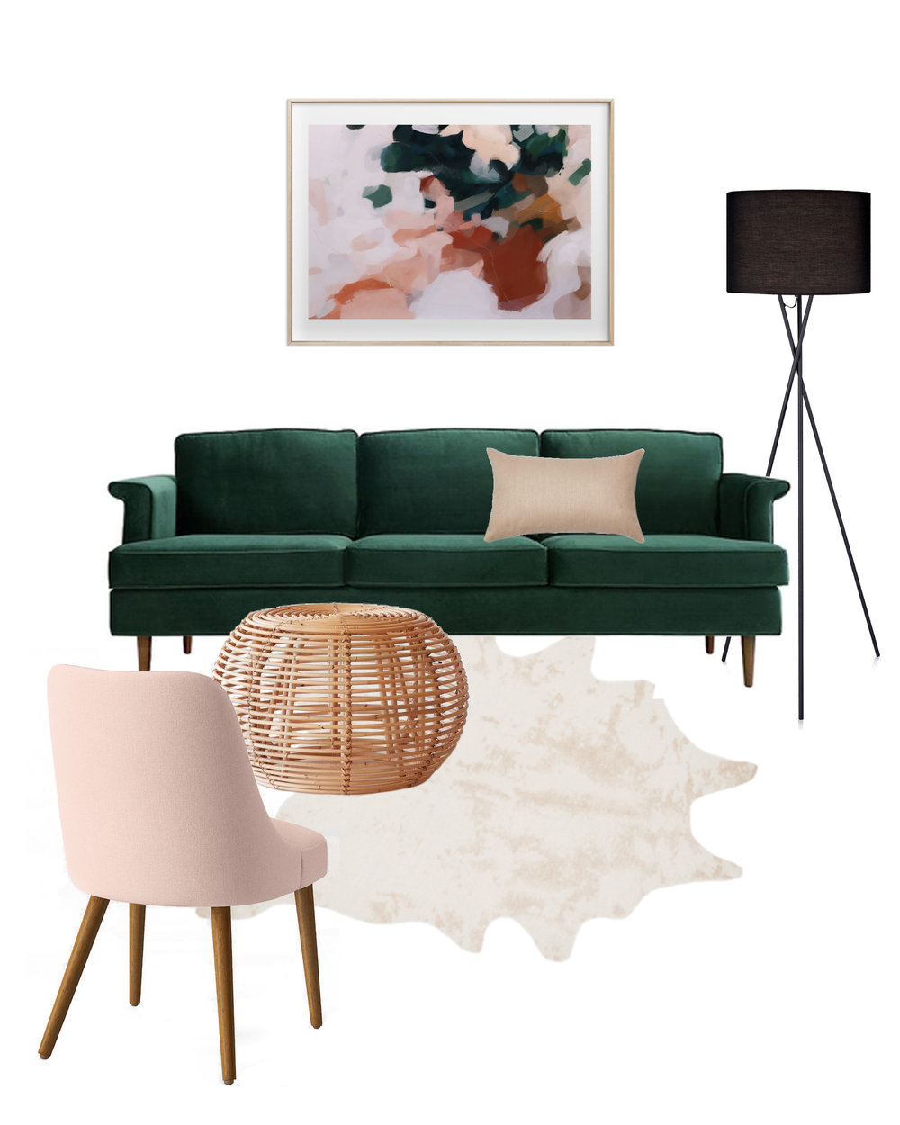 Outfit & Room: Emerald + Blush Color Story | Design Confetti