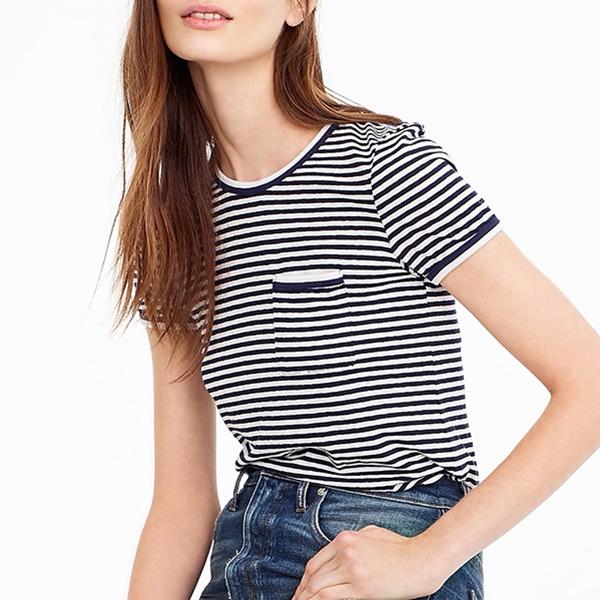 Contrast Slub Cotton Ringer T-shirt in Stripes, Jcrew, $21.99 -