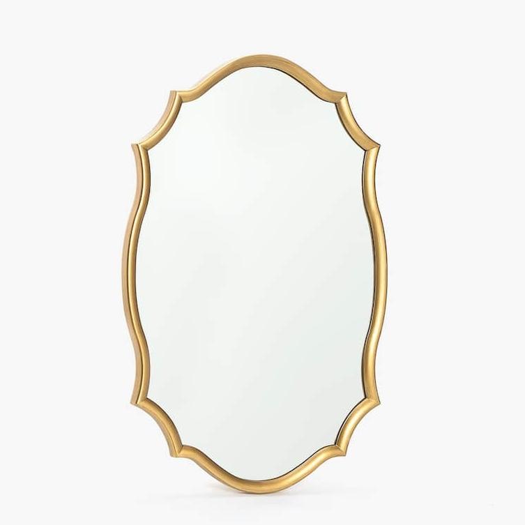 Golden Wavy Frame Mirror, $70
