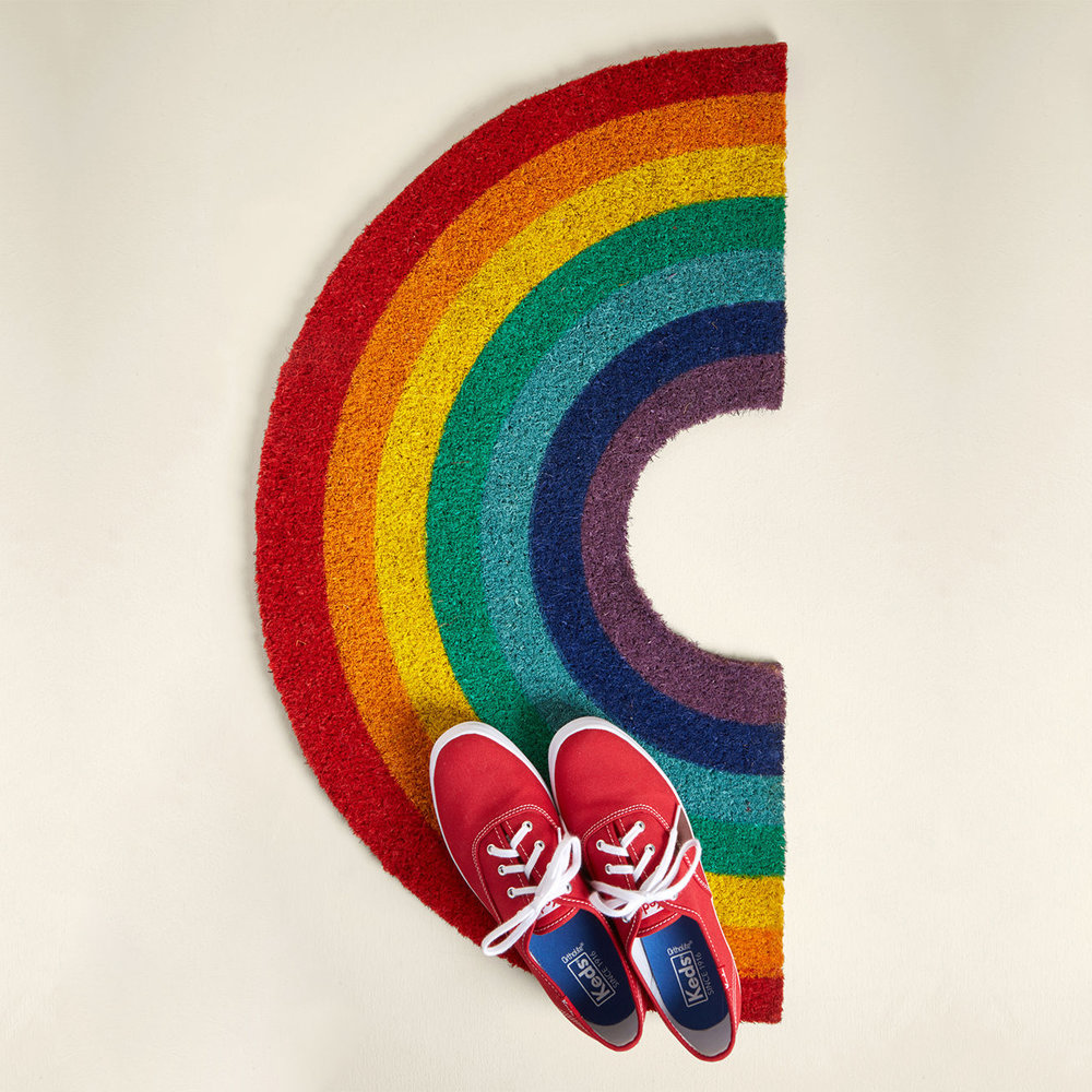 Chase the Rainbow Doormat, $36
