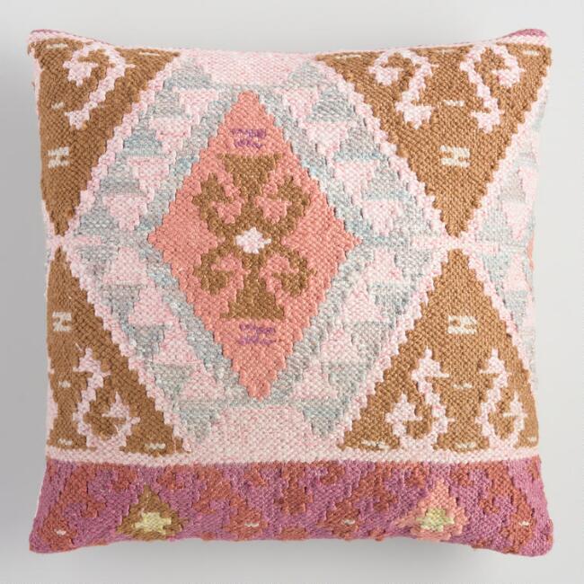 Coral Kilim Woven Pillow, $40