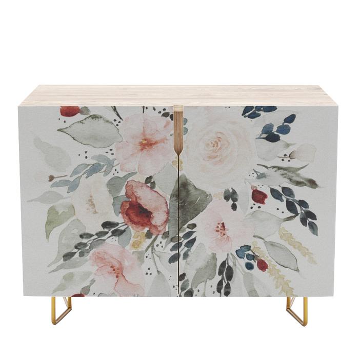 Loose Watercolor Bouquet Credenza, Society6, $649 -