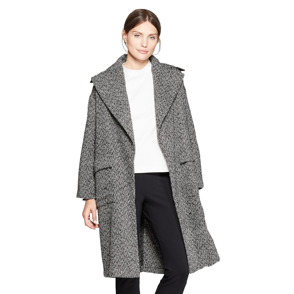 Women's Long Sleeve Jacquard Tweed Overcoat, Target, $49.99 -