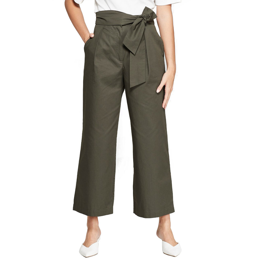 Women's Wide Leg Tie Front Ankle Length Trouser, Target, $29.99 -