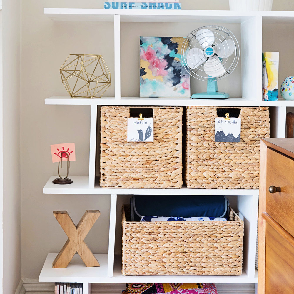 #OneRoomChallenge,Week Two: Our Baby Gear Essentials and Some Smart Storage | Design Confetti