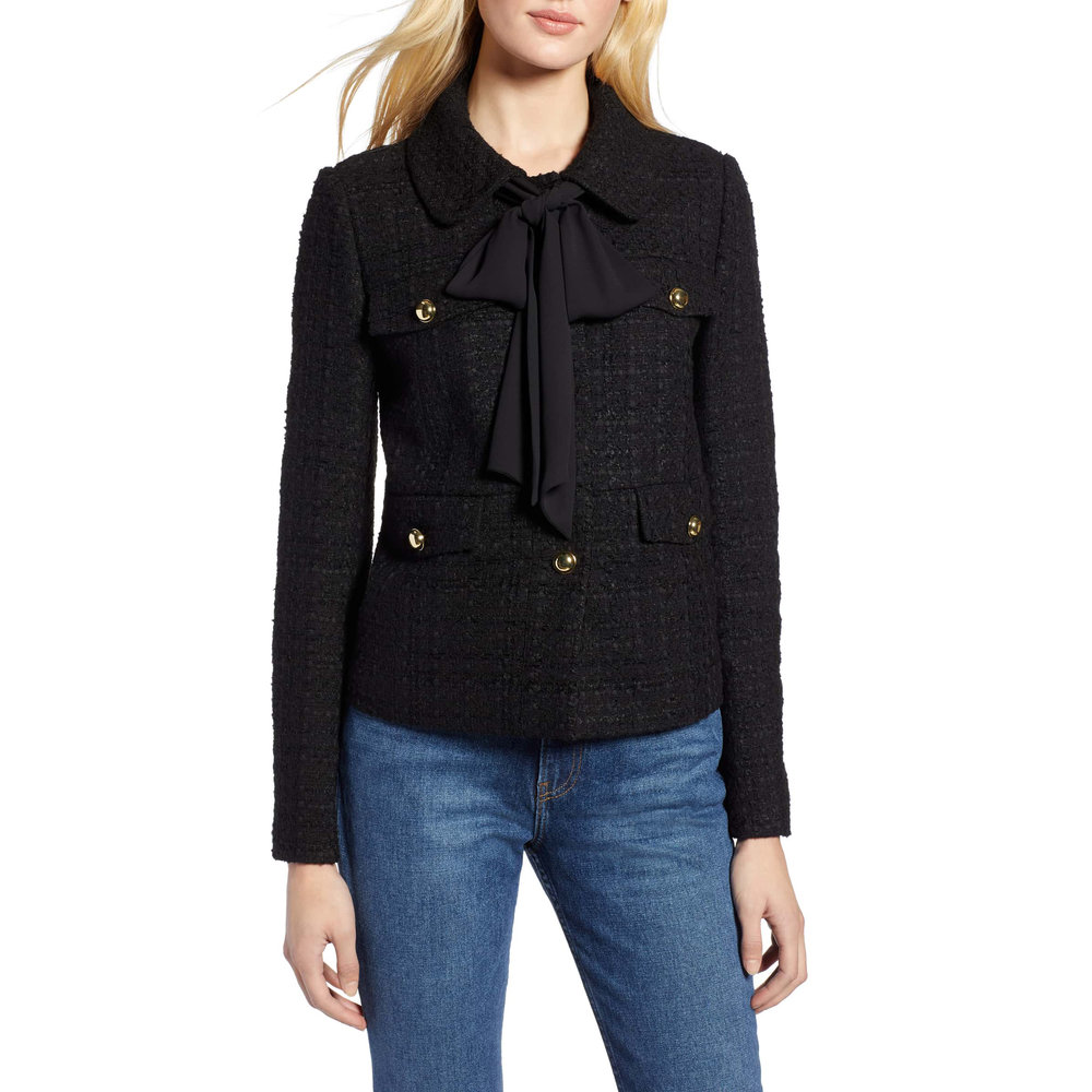 Halogen x Atlantic-Pacific Bow Detail Tweed Jacket, Nordstrom, $169 -