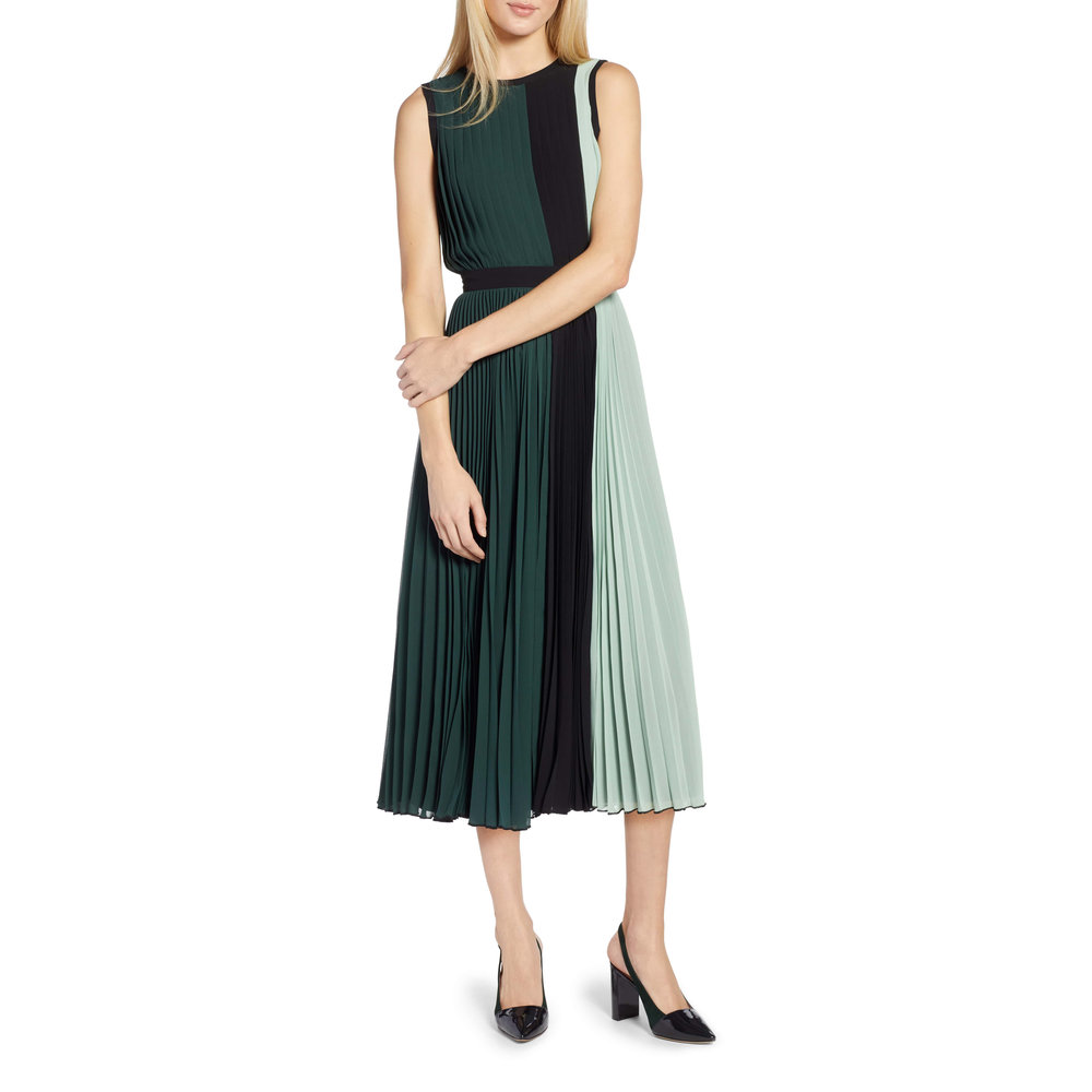 Halogen x Atlantic-Pacific Colorblock Pleated Midi Dress, Nordstrom, $149 -