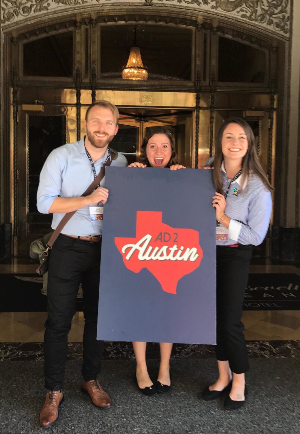 Chris Welhausen, Madison Scullin, and Becca Messenger after presenting Ad 2 Austin's 2016-2017 Public Service Campaign for the Ad 2 National competition at ADMERICA in New Orleans, LA.