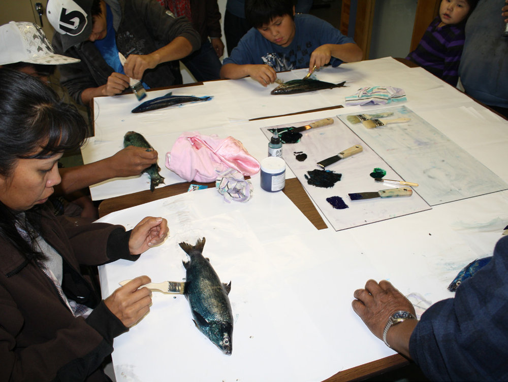 First community training workshop (printing fish from lake)