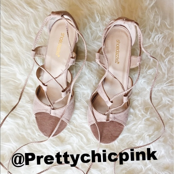 Shoedazzle Lace Up Blush Heels