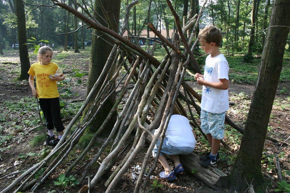 Een kamp bouwen in het bos