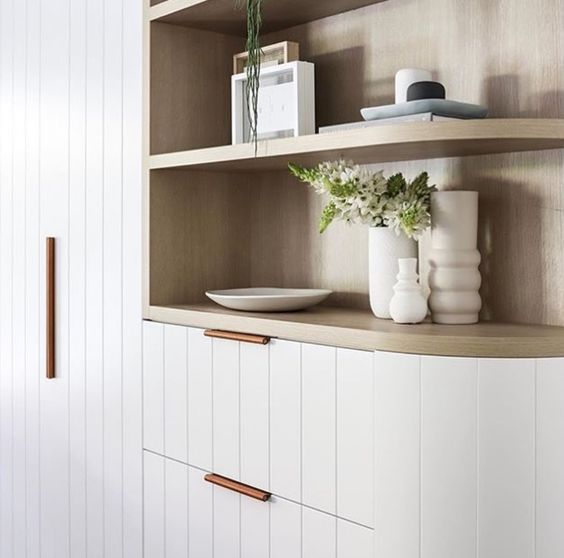 Minimal shelf styling via  The Stables Design