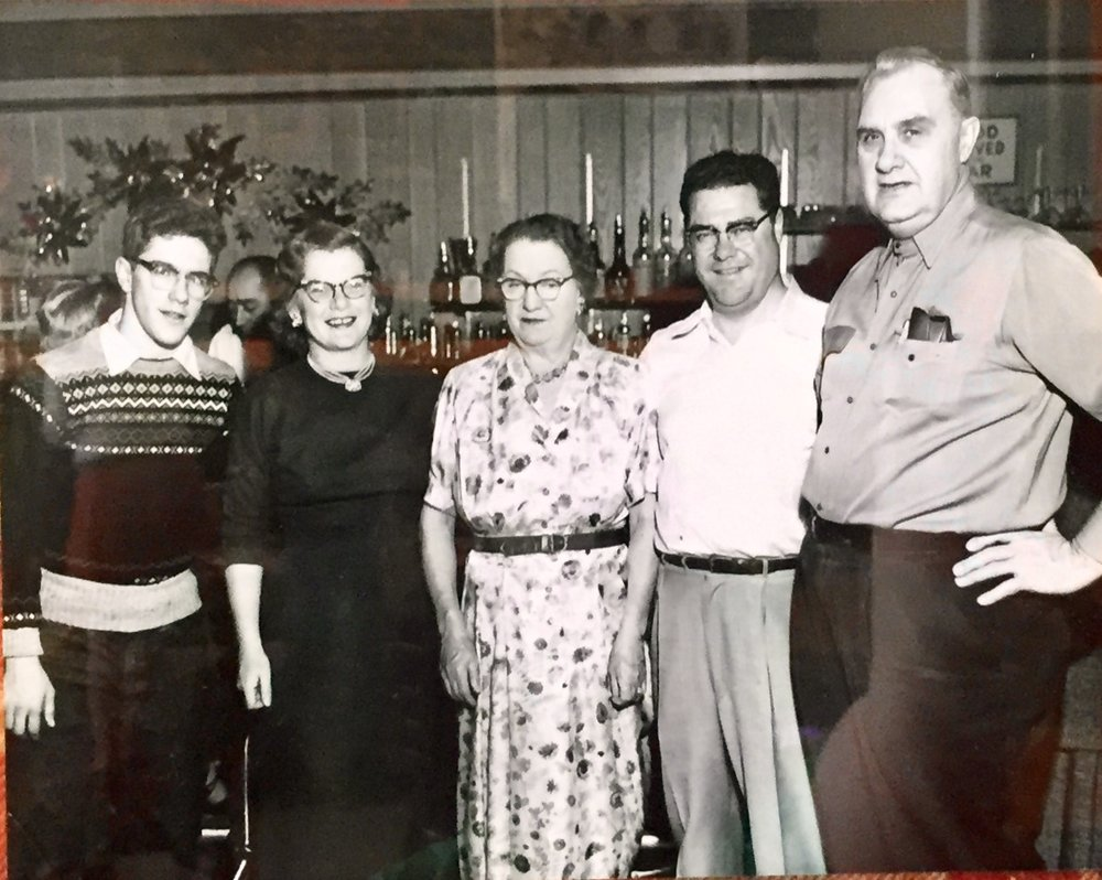 "from right to left:  Grandpa Engels  –  ran Engels Steakhouse on the now Hackney's on Lake location ,  Grandpa Jim Masterson  –  Mike's grandfather ,  Grandma Engels  –  Jim's mom ,  Grandma Kitz Masterson  –  Mike's grandma and our namesake for Kitz Irish Red Ale ,  Jim Masterson Jr.  –  ""Gee-G"" Mike's Uncle"