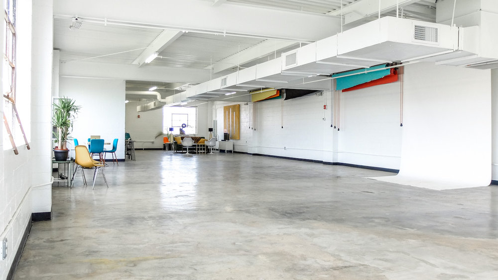 Chromedge Studio - HMUA to be held upstairs in the Chromedge Photo Lab, NOT the 400 W Rich building. Free lot parking is available on site, ok to use 400 W Rich parking. We provide stations with a table, outlets and high stools for each artist. Natural light is abundant!