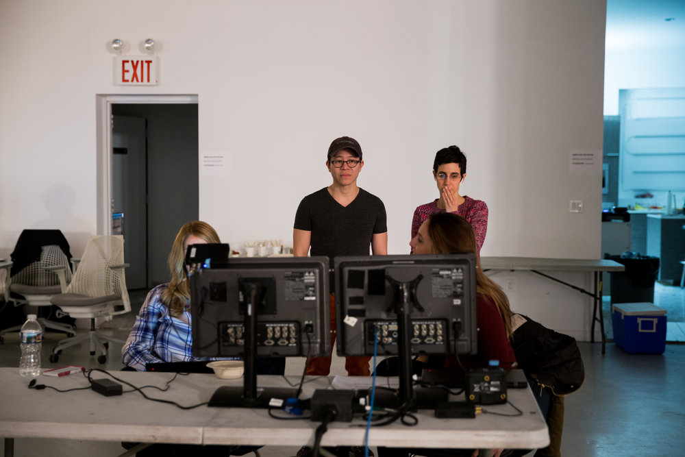 Founders Julie and Joe observing footage on the set of the BOON Inc pieces at Brooklyn Studios.