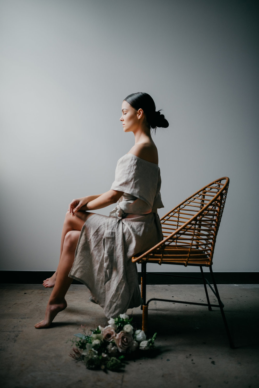 Kennedy Martinelli wearing Forma by Nelly Gavrilov, Styled by Nicole Gavrilov of Mindful Makers Co, Photographed by Wendy Bobarikin, Florals by Anthousai of Tulsa, Oklahoma.