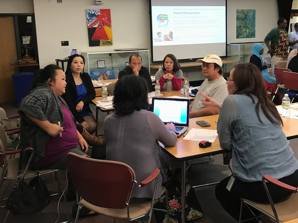 Members of the Coalition of Asian American Leaders meet to discuss education advocacy and engagement work in this Minnesota Multilingual Equity Network session with parents.