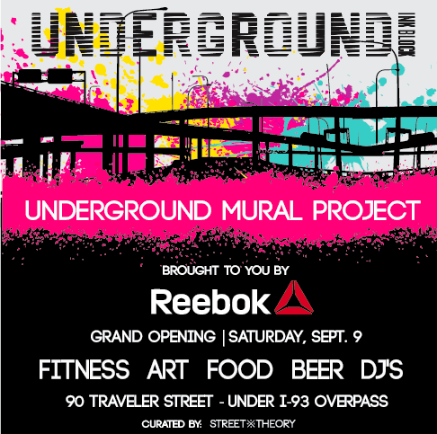 Underground GetDown Opening Day Party & Celebration! - SATURDAY, SEPT 9TH | UNDERGROUND @ INK BLOCK 90 TRAVELER ST. The Grand Opening of Underground @ Ink Block is brought to you by Reebok and kicks off with a day party and celebration including fitness classes, art murals, food trucks, a beer garden, DJ's and more!