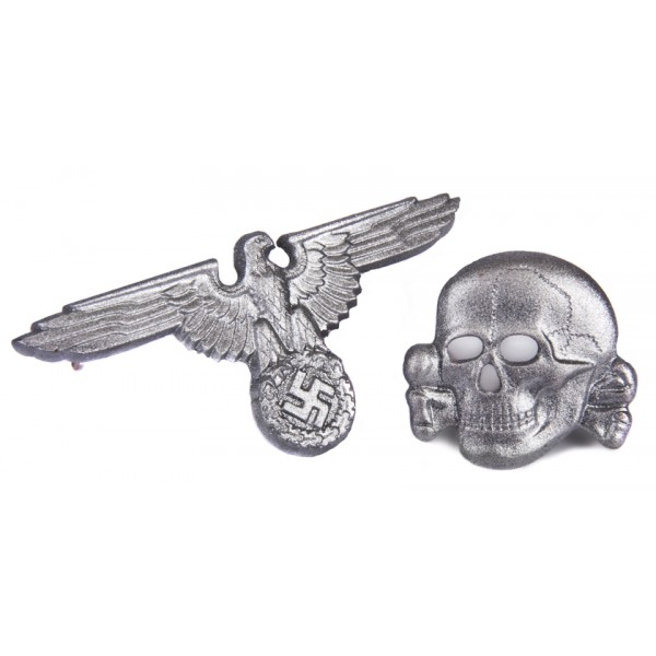 WWII GERMAN WAFFEN-SS METAL CAP EAGLE AND SKULL SET
