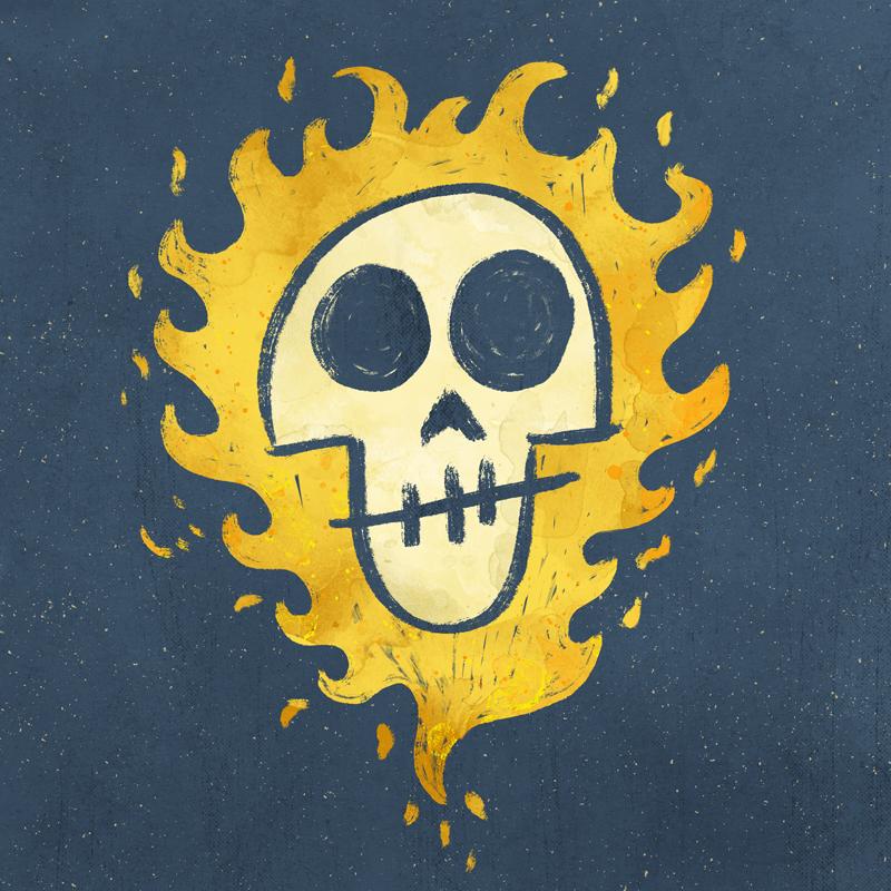 Flaming Skull by Jason Heglund