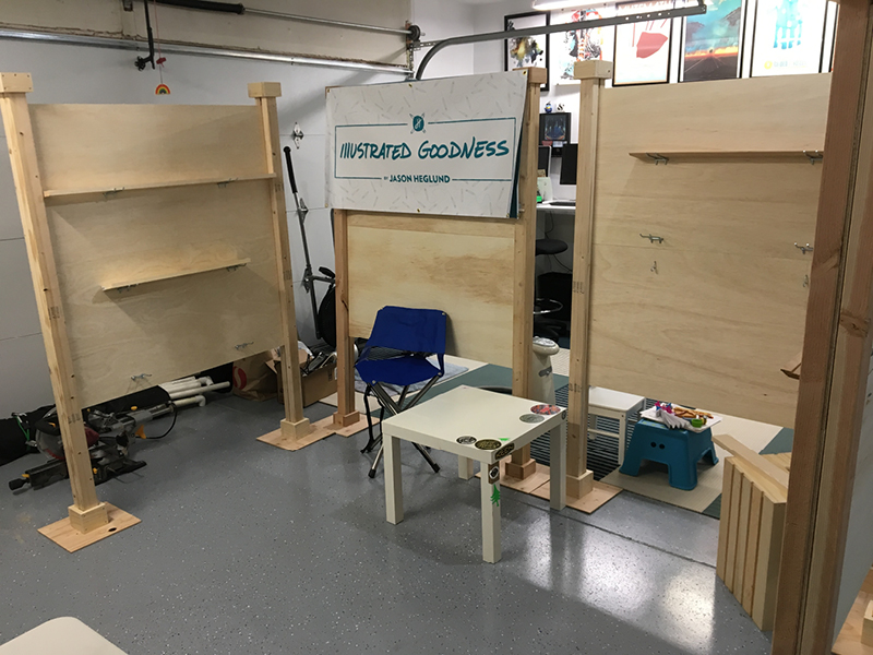 First test setup. I made 4 of these walls, drilled holes into measure areas in the sanded plywood for the pegboard clips and setup pieces of wood on them to create shelves.