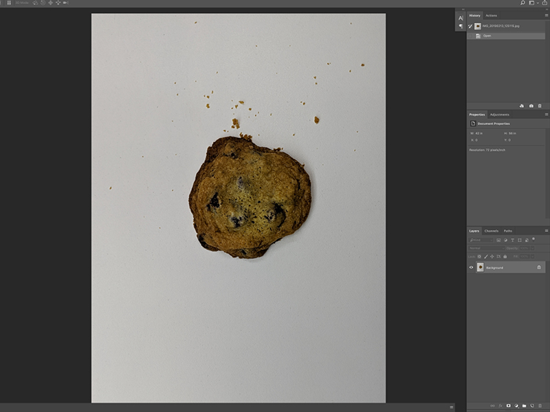 Step 2:  I bring the photo in Photoshop to fix the lighting situation.