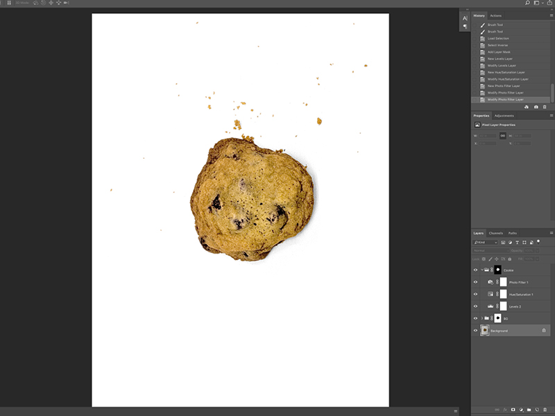 Step 4:  Then I adjust the lighting and color of the cookie.