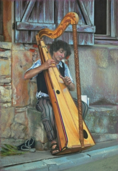 Harpist  -  Vezelay, France