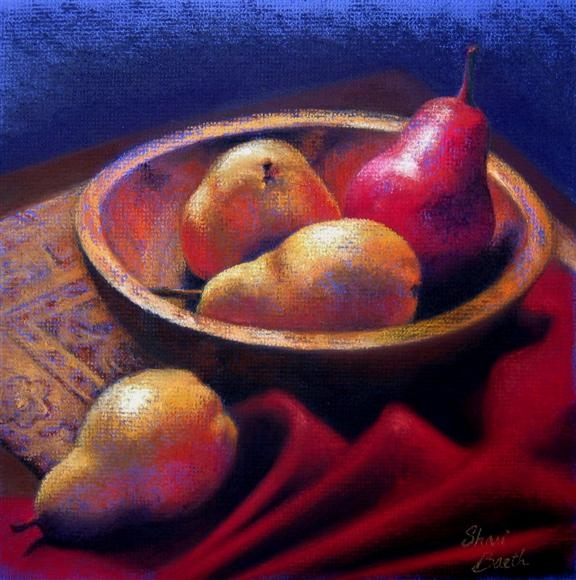 Red Pear - pastel
