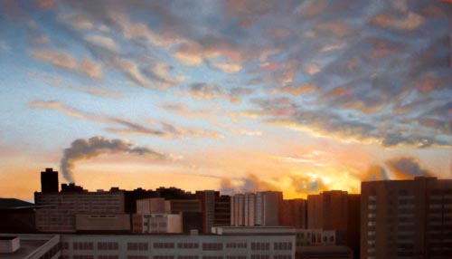 Ukranian Sunrise   Kiev, Ukraine - pastel