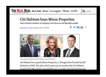 Real Deal:   Citi Habitats-Buy Miron Properties