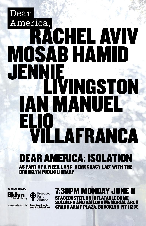 PARTICIPANTS: - RACHEL AVIV, New Yorker WriterMOSAB HAMID, Teenage ActivistIAN MANUEL, Poet & Criminal Justice ActivistELIO VILLAFRANCA, Jazz PianistJENNIE LIVINGSTON, Filmmaker
