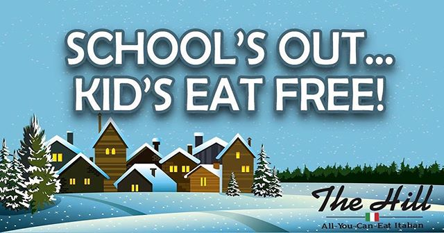Snow day tomorrow! What better way to celebrate than treating the kids to some yummy pasta and pizza?! One free child per adult (children must be under 11 years old to qualify for free meal). All you have to do is share this post. That's it! Can't wait to see all of you tomorrow! *Offer only valid for Wednesday, January 17, 2018. #snowday #springfield #thehill