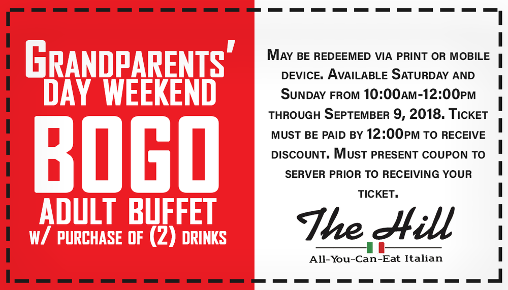 BOGO BRUNCH - Buy one adult buffet, get one FREE*, with the purchase of two drinks. Don't miss out, this offer is only valid this Grandparents' Day Weekend (Saturday and Sunday from 10:00am-noon.)