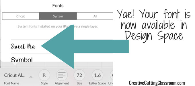 Add fonts to iPad for design space
