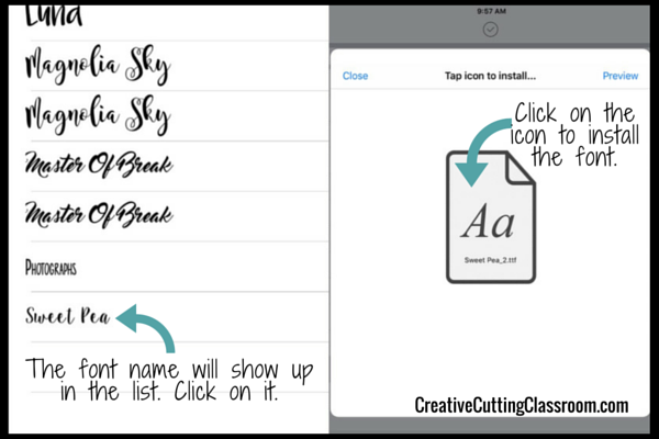 Adding Fonts to IPad for design space