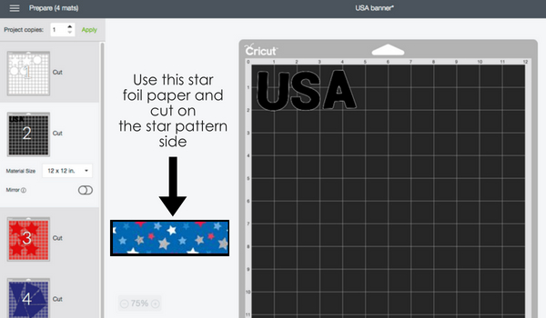 USA Cricut Banner- Cut the USA letters out of the star foiled Doodlebug paper with the Cricut