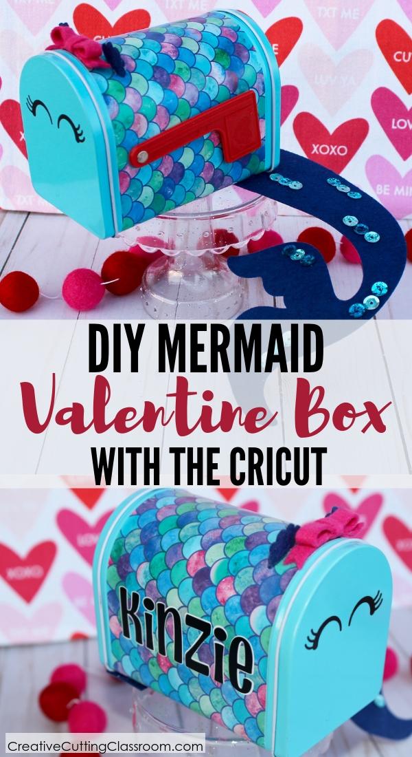 DIY Mermaid Valentines + Box   DIY Valentine Box   DIY Valentine Craft   DIY Valentines   DIY Mermaid Valentines   How to Make Valentines box using the Cricut Maker   #cricut #valentines #mermaid