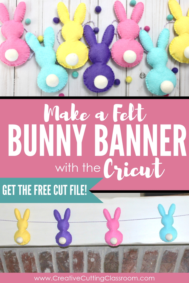 Make an adorable Cricut Easter project- an Easter Bunny felt banner. Step by step tutorial and free SVG file.
