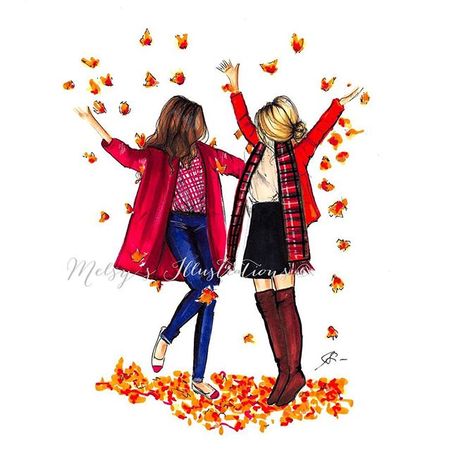 Tag a friend you'd want to dance in the leaves with 🍁🍂 #sofall #leaves #fall #pumpkinspice #pumpkinspiceeverything #autumn #fallfashion #art #melsys #melsysillustration #nyc #autumninny #foliage #bffs