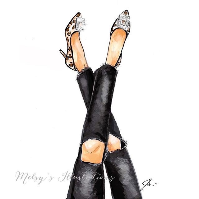 Heels up! It's FRIYAY 👠 #melsys #fashionillustration #nyc #nycillustrator #art #somethingnavy #inspired #manolos #friyay #friday #fallfashion