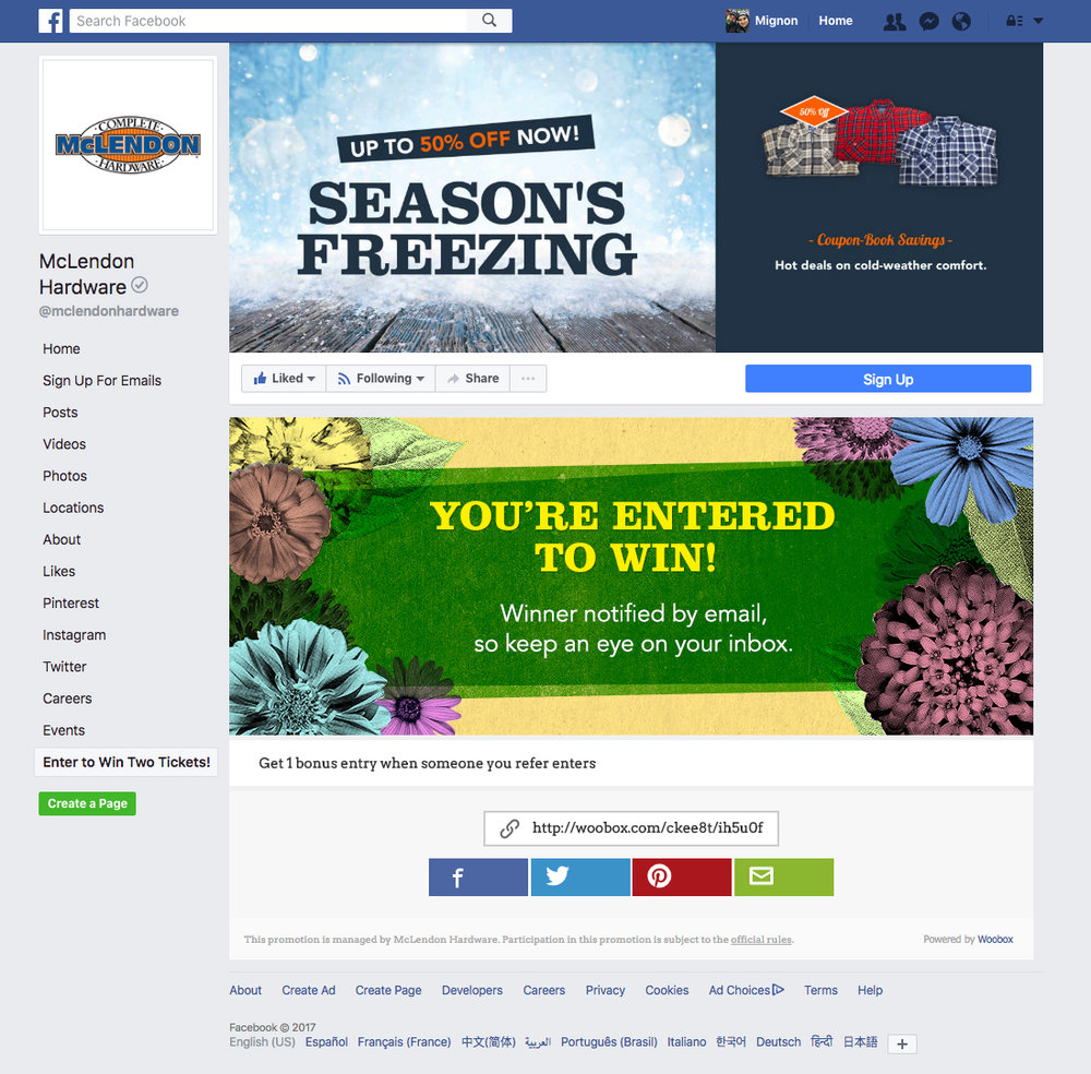 Facebook Giveaway Entry Confirmation Page