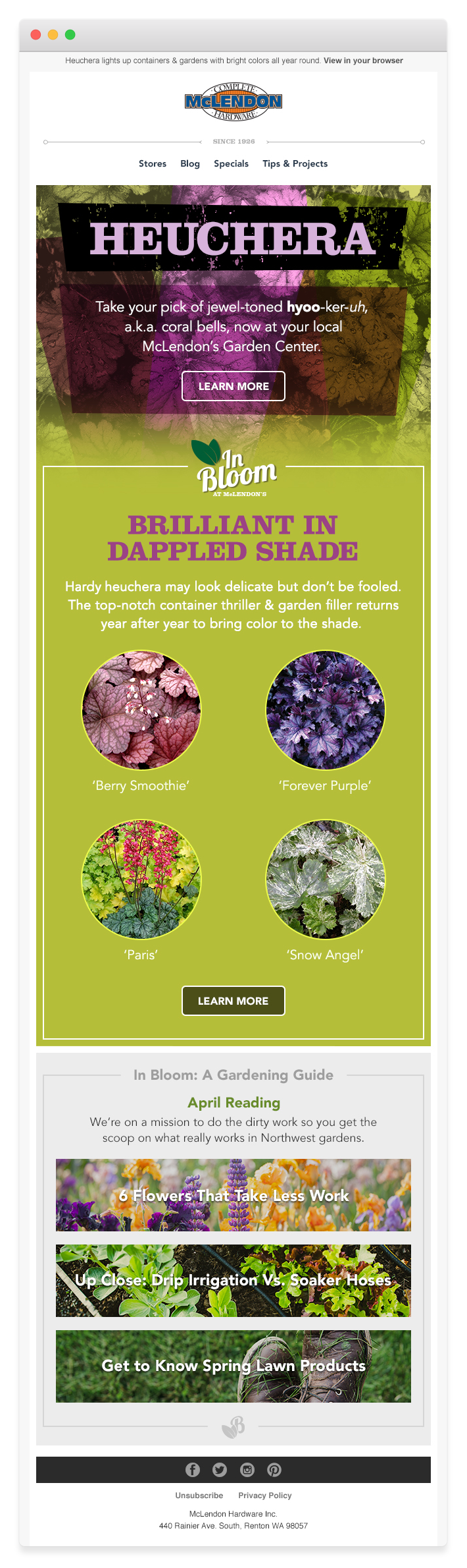 Plant of the Month Email with a Garden Guide Subfeature