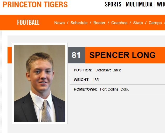 Spencer Long  - PHS Class of 2014  Princeton University - (#81) DB