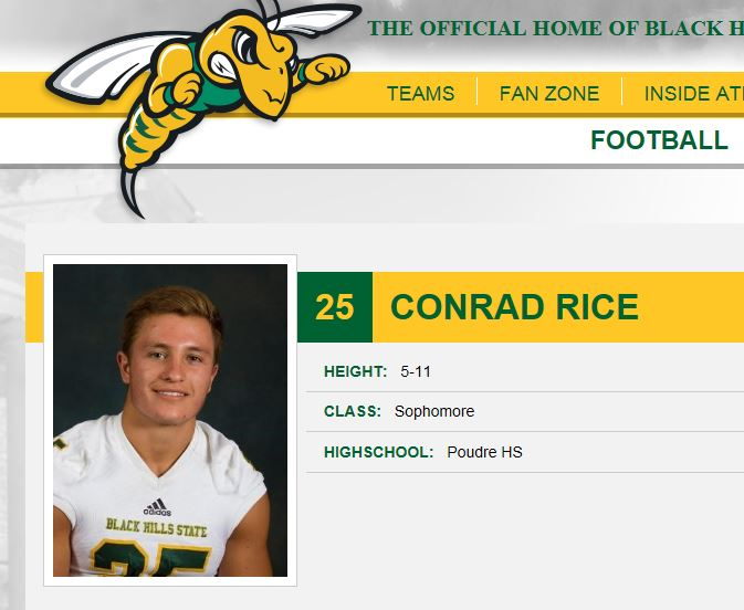 Conrad Rice  -DB - PHS Class of 2015  Black Hills State University - (#25)