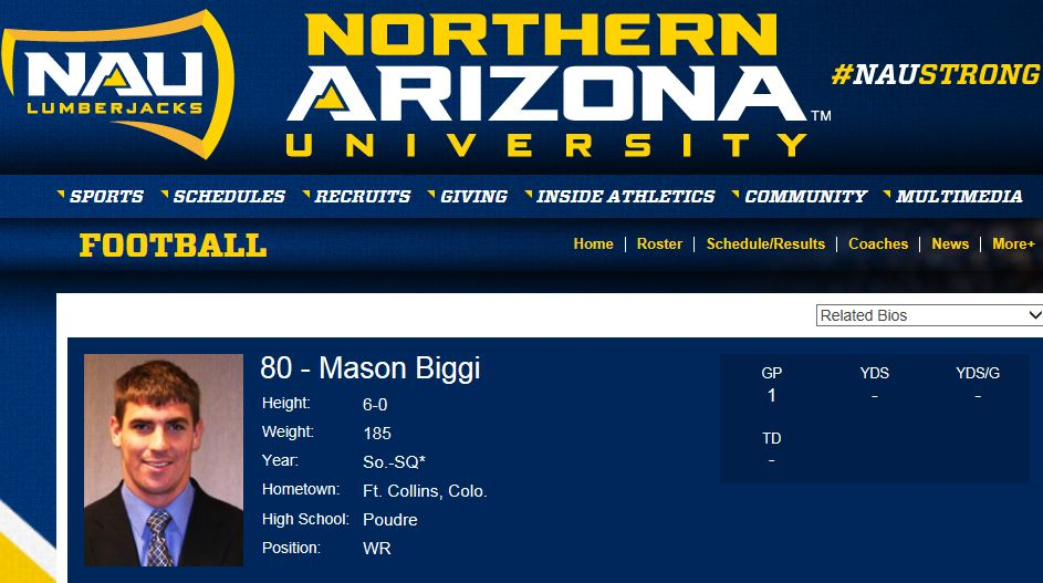 Mason Biggi  - PHS Class of 2009  Northern Arizona University - (#80) WR